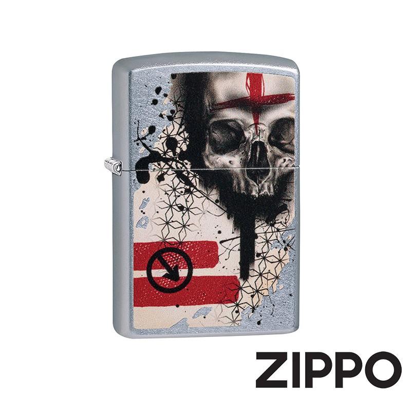ZIPPO 中歐紅黑寫實骷髏防風打火機 美國設計 29856