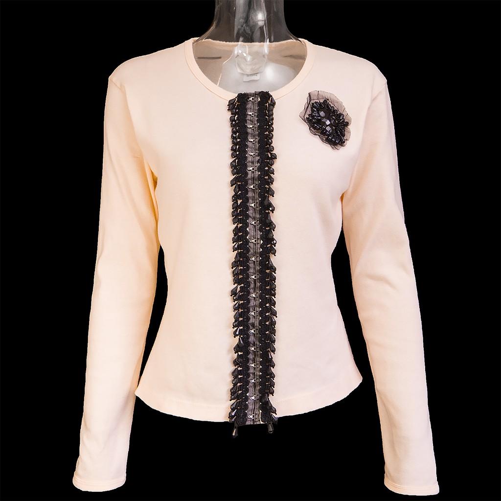美國時尚設計品牌ANNA SUI 安娜蘇粉膚色串珠宮廷風長袖外套  美國製