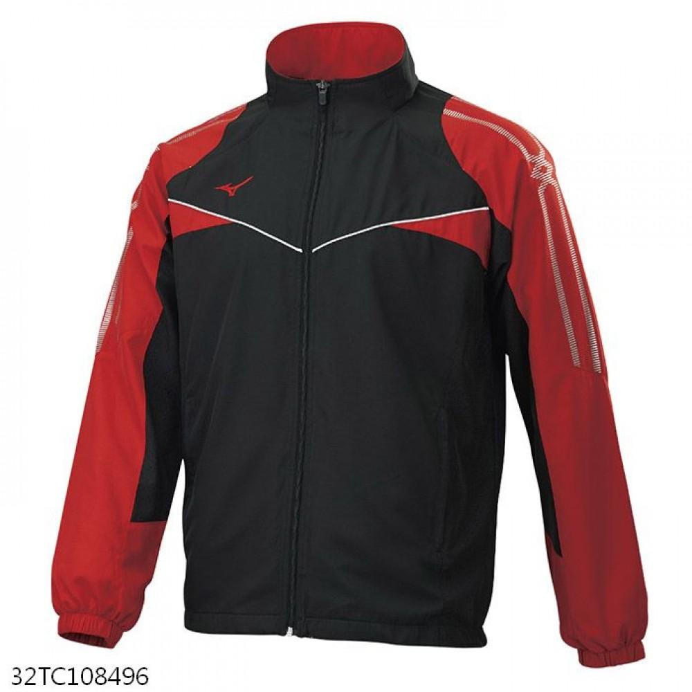 MIZUNO 男裝 外套 立領 套裝 平織 抗紫外線 口袋拉鍊 黑紅【運動世界】32TC108496
