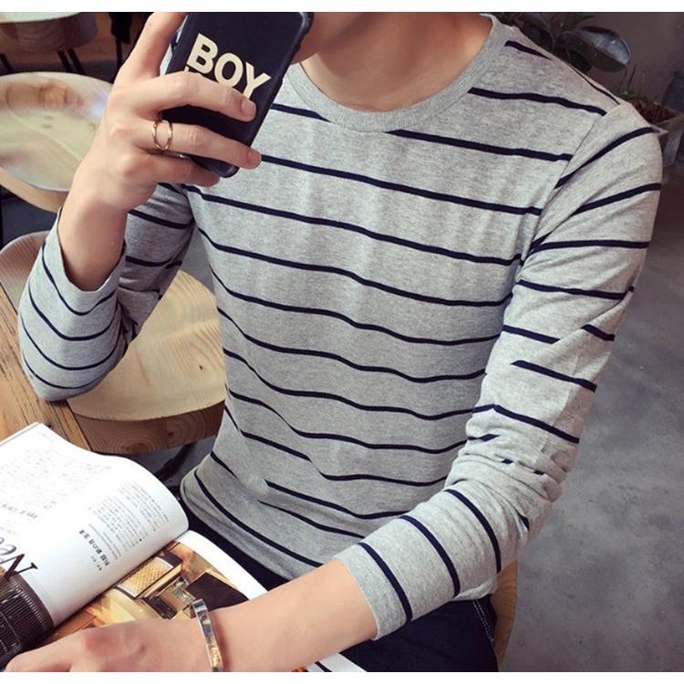 【超低價】秋季長袖條紋T恤男 韓版修身個性青少年打底衫 舒適合身休閒圓領大學t 大尺碼t恤 長袖上衣 正韓上衣 男生衣著