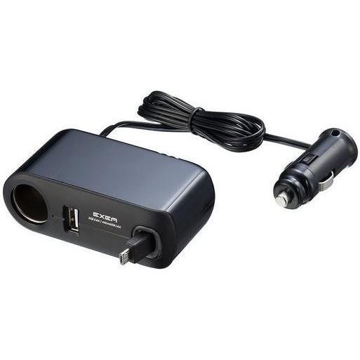 車之嚴選 cars_go 汽車用品【EM-121】3.8AUSB+MicroUSB捲線式+單孔點煙器延長線式插座擴充器