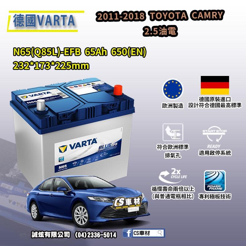 CS車材-VARTA 華達電池 TOYOTA CAMRY 2.5油電 11-18年 N65 Q85 EFB 非韓製