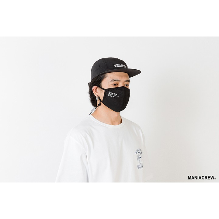 MANIA 抗撕裂口罩 LOGO 十字紋布 口罩掛繩 (非醫療用口罩) 黑/軍綠 21 S/S Logo Mask