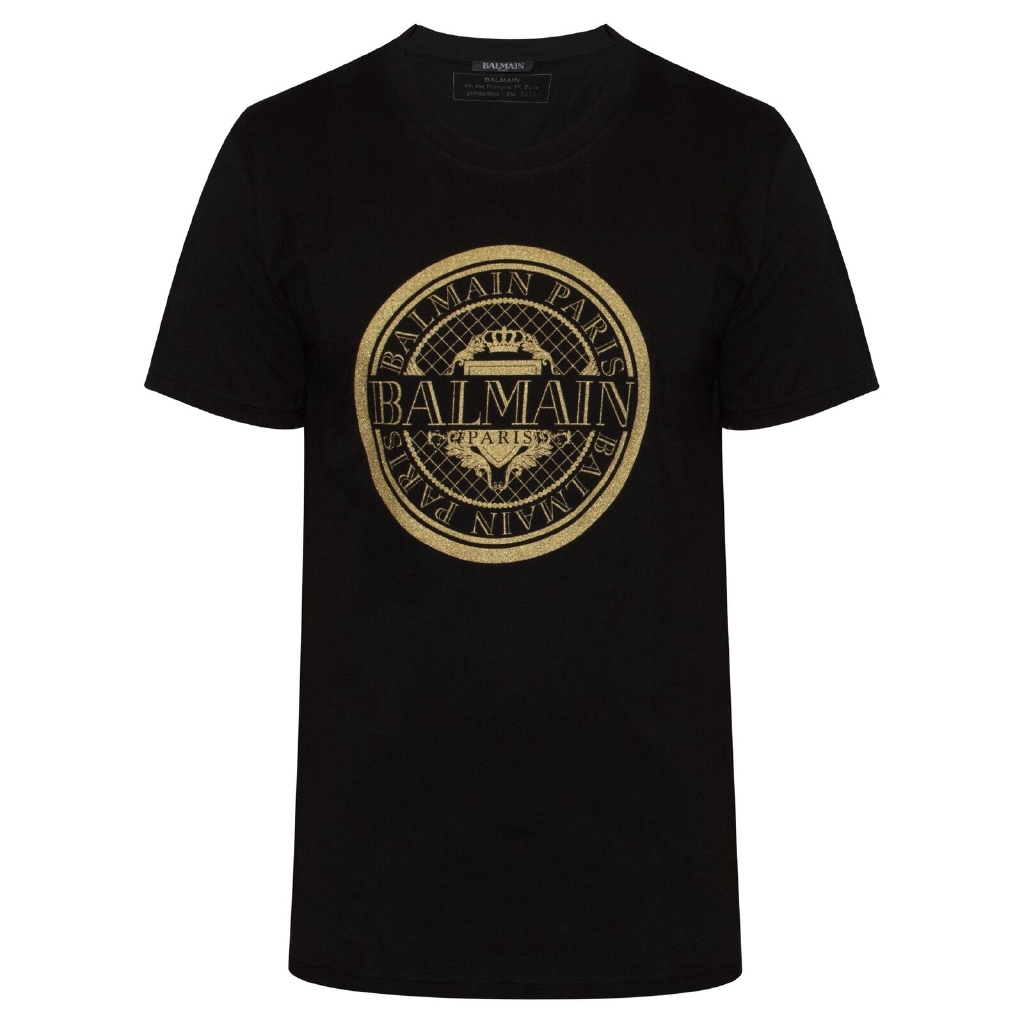 Balmain 黑色品牌徽標 T 卹定制短袖圓領棉質上衣