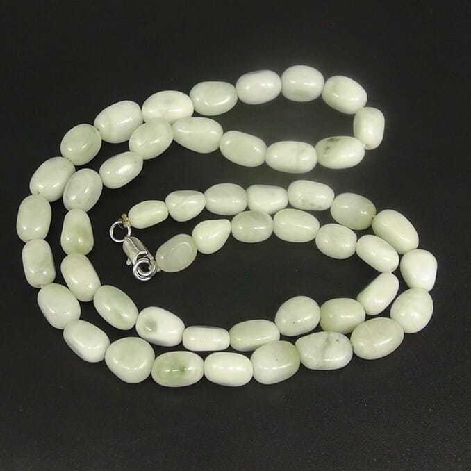 南陽獨山玉獨玉瓷白料隨形珠子項鏈子