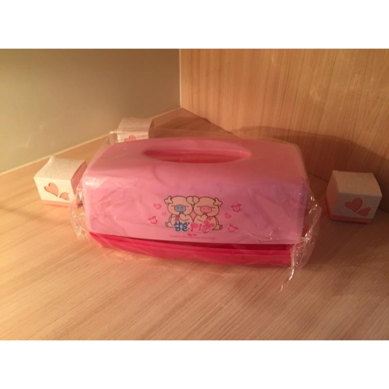 面紙盒 粉紅色 小豬