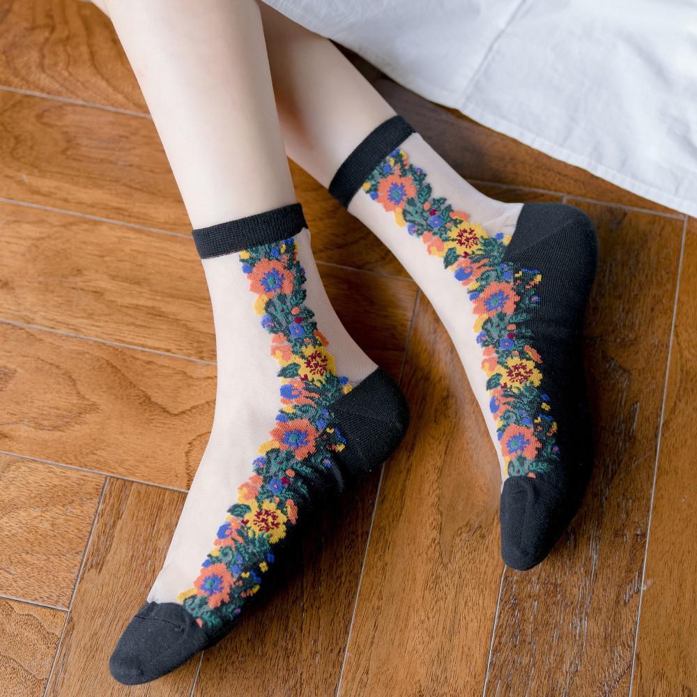 大唐襪業 D420春夏新品玻璃絲襪復古小花輕薄透氣女士中筒襪子卡絲襪水晶絲襪