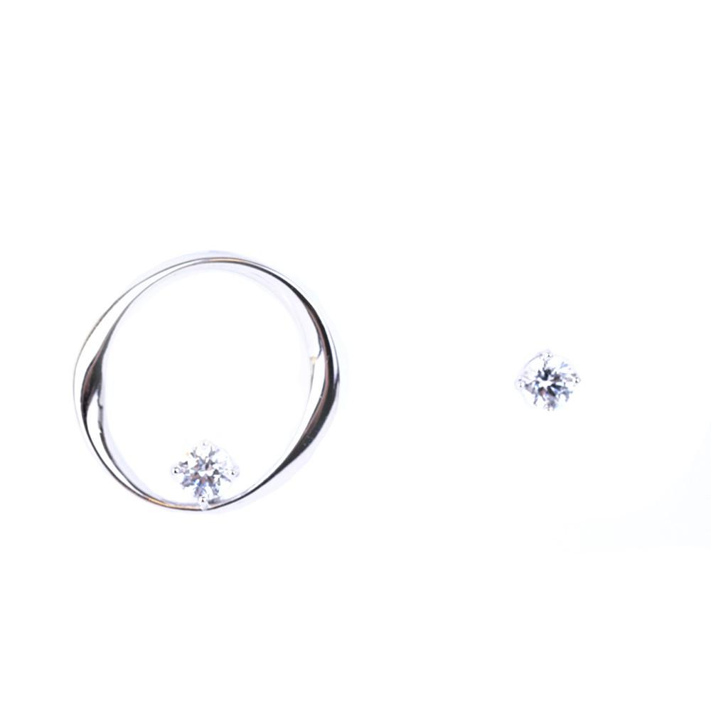 【RINRADA】純銀鋯石扭紋耳環