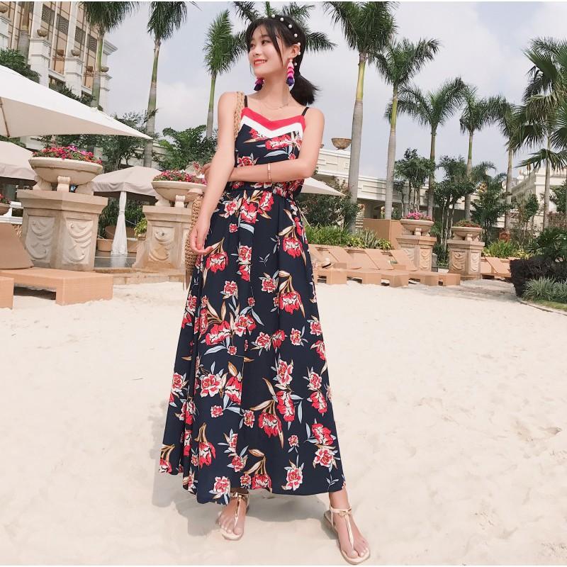 實拍+小視頻馬爾代夫吊帶高腰花朵藏青色波西米亞連衣裙度假長裙