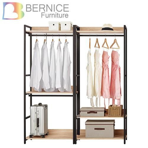 Bernice-裴拉5.3尺開放式組合衣櫃(雙吊+三抽)