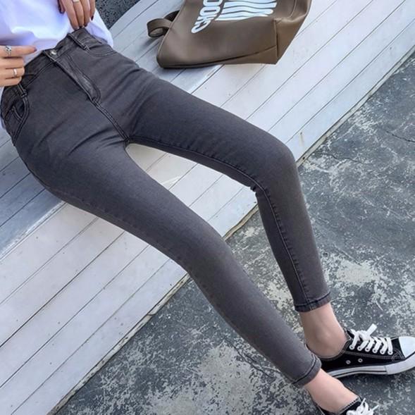 【現貨】實拍韓妞必備鉛筆褲窄腿百搭彈力窄管褲 彈力顯瘦素色百搭丹寧牛仔長褲 合身高腰牛仔褲
