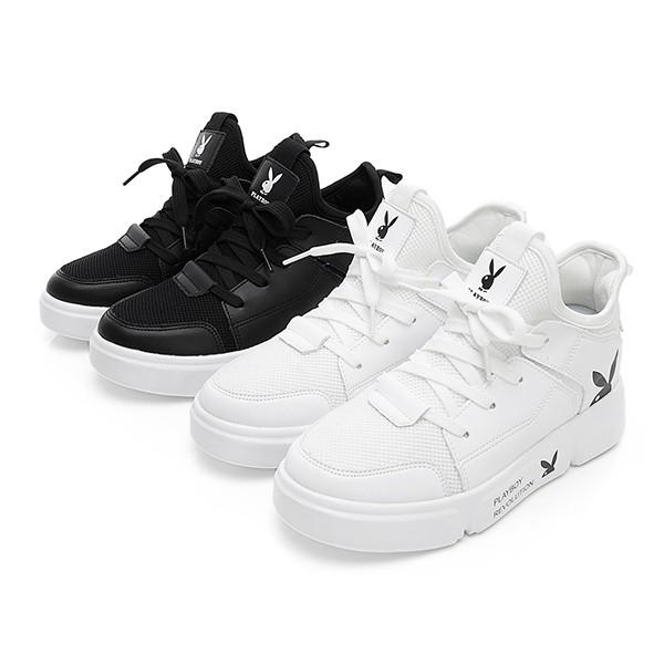 PLAYBOY 動感率性 襪套式網布拼接休閒鞋-白/黑(Y5278)