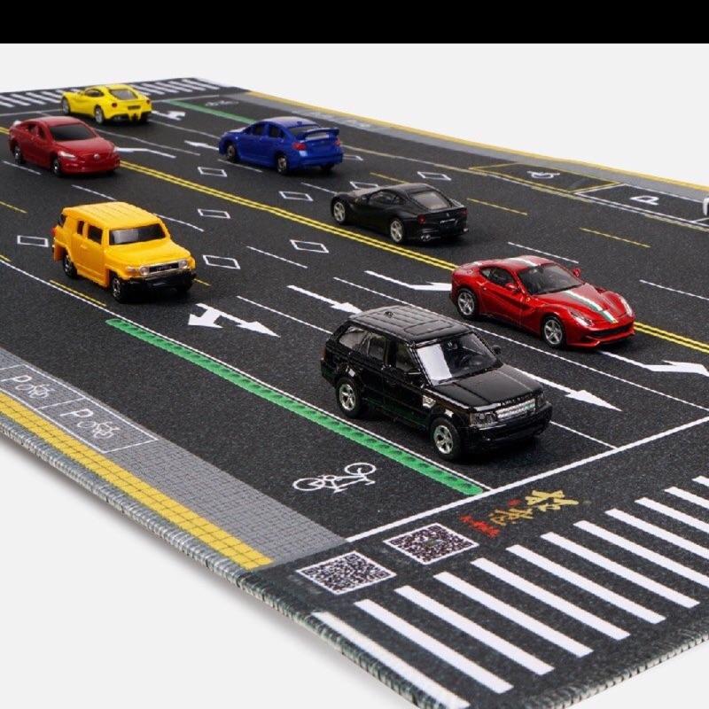 超大馬路滑鼠墊 tomica 多美車 停車場 1:64(80*40)模擬 辦公室小物 桌墊 玩具墊