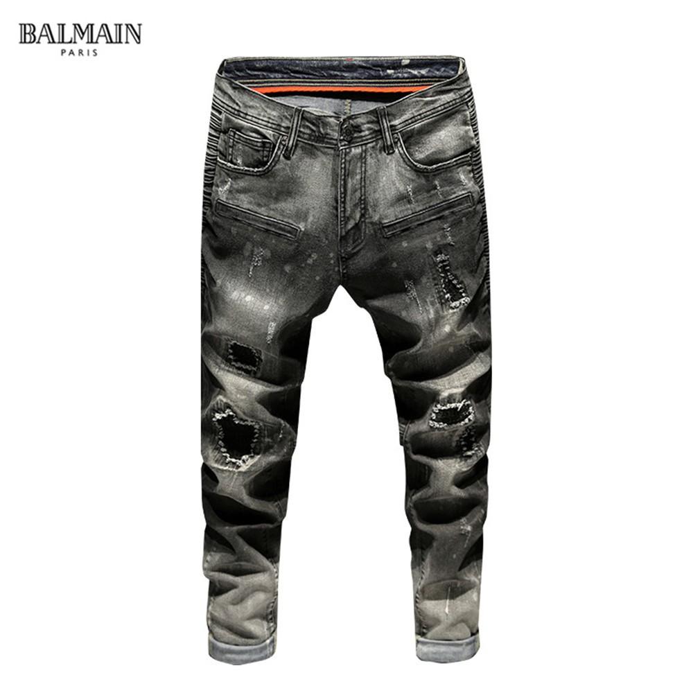 最新款巴爾曼牛仔褲 新款時尚修身牛仔長褲 BALMAIN青年牛仔褲 潮流破洞牛仔褲 丹寧牛仔褲  水洗牛仔褲**