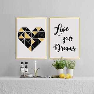 現代牆畫幾何心畫布印刷北歐牆畫藝術海報油畫靈感引用生活你的夢想
