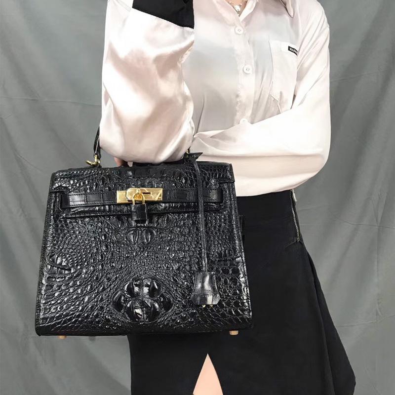 2020新款鱷魚皮女包真皮手提包時尚凱莉包單肩女士手提斜挎包