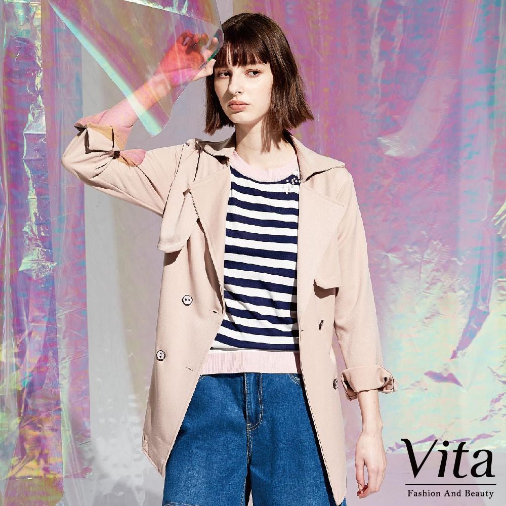 Vita-翻領後綁帶長版大衣-粉-0460-67161-31