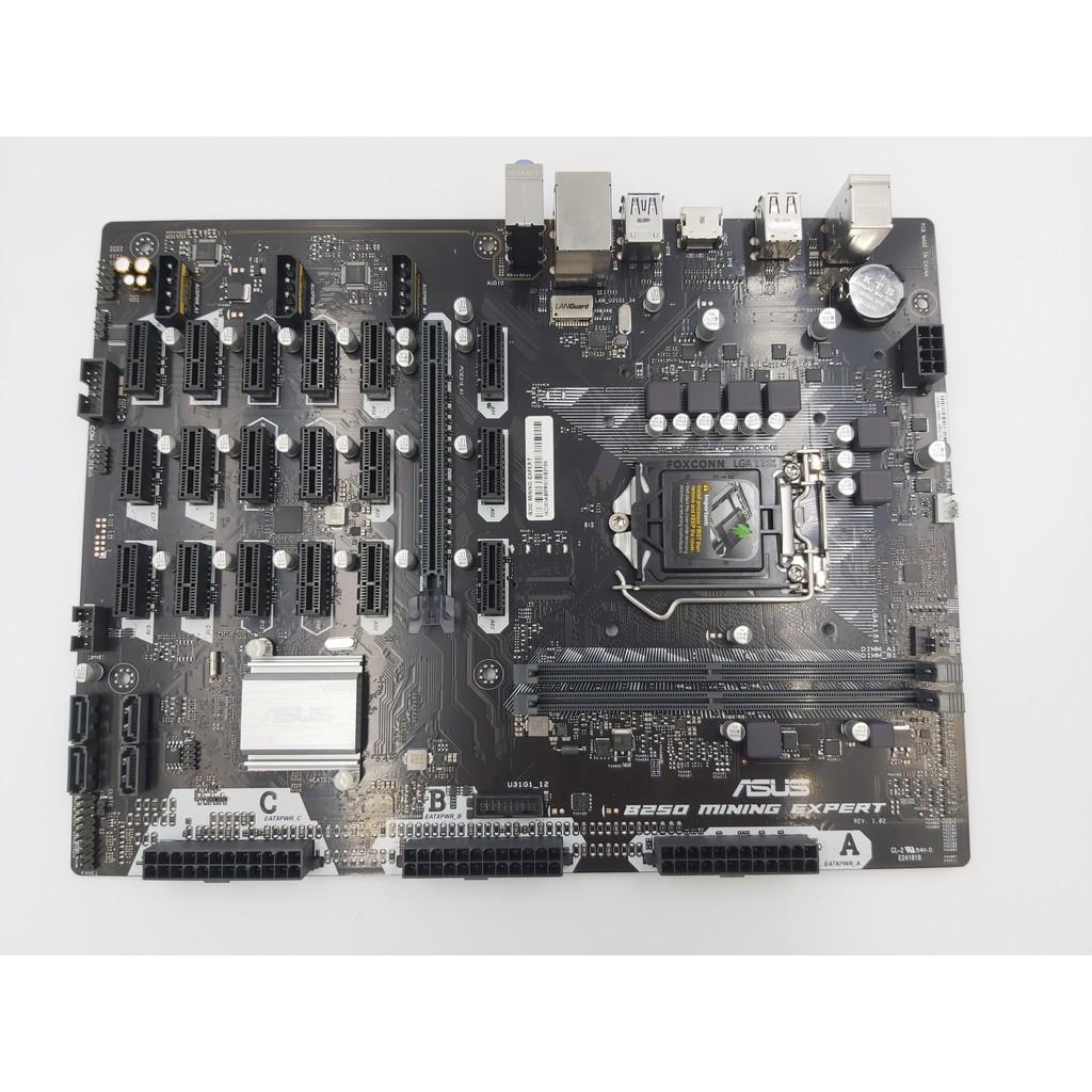 ASUS B250 MINING EXPERT二手主機板19卡 CPU 美光記憶體一組