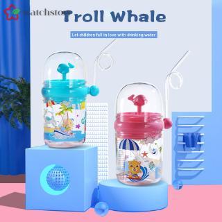 #2020#WS 250ml兒童水杯卡通鯨魚嬰兒餵食帶吸管戶外杯