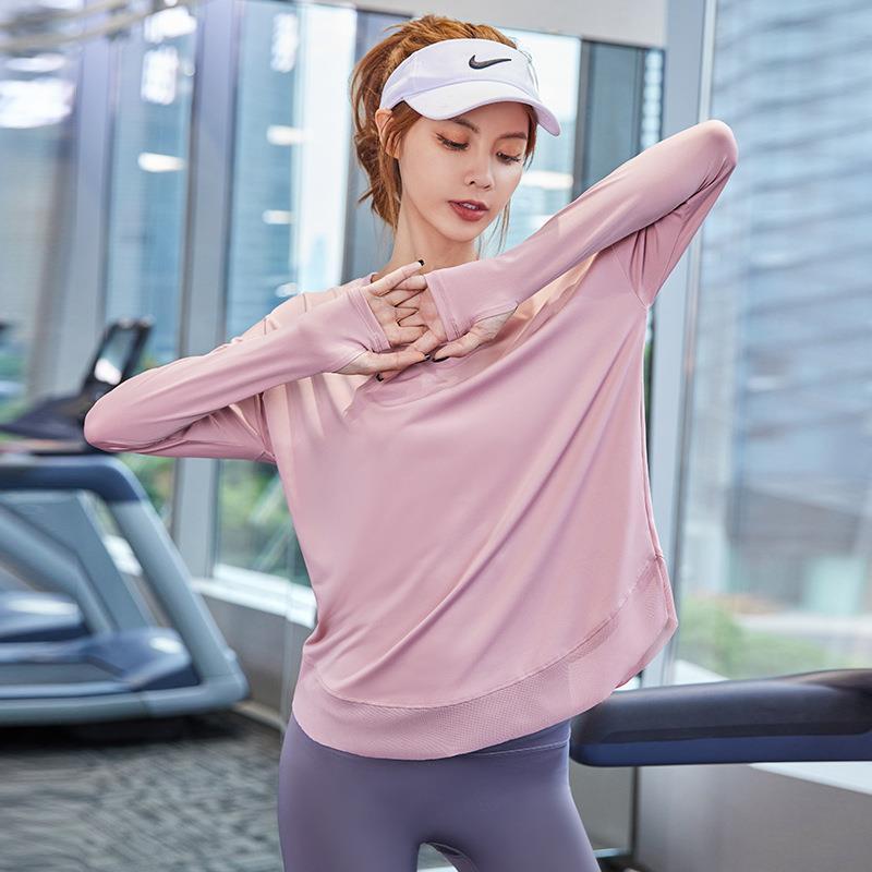 運動上衣 女寬鬆顯瘦跑步速乾T恤 網紗瑜伽服長袖健身外搭 罩衫秋冬