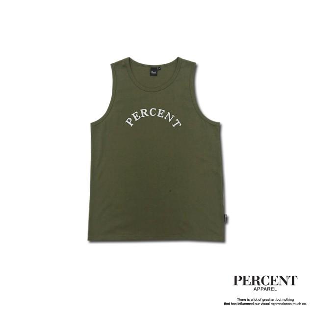 PERCENT% 鎖鏈電繡背心 綠色 藤原本舖 水洗材質 重磅背心 吊嘎 夏天背心
