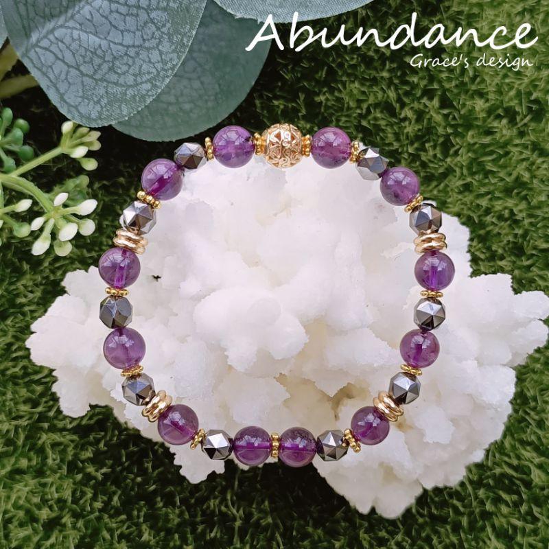   紫水晶•鈦赫茲石  💜Abundance療癒能量水晶手鍊