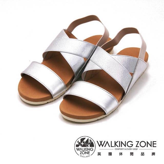 WALKING ZONE 涼夏寬帶平底涼鞋 女鞋-銀