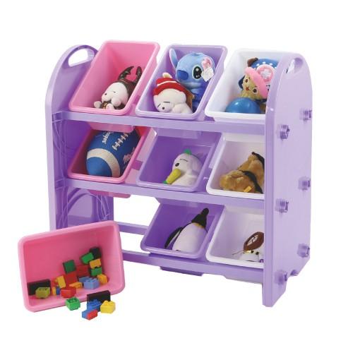 DELSUN粉紫九格玩具收納架 冰雪粉紫