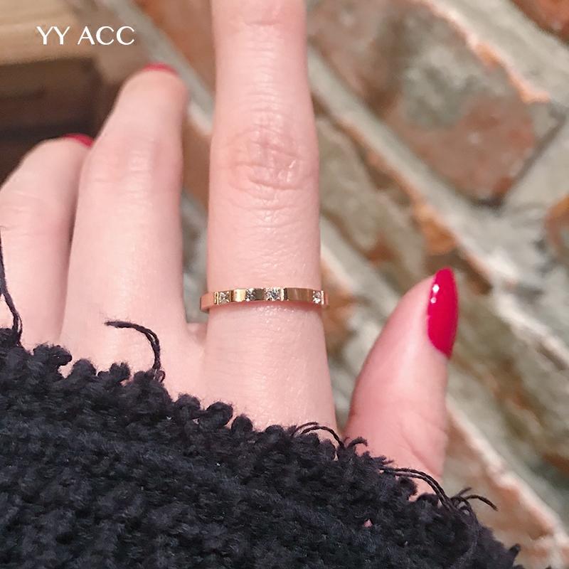 ZLBAO鋼戒女冷淡風極簡約小眾網紅18k玫瑰金鈦鋼極細鋯石食指戒指女不掉色ins