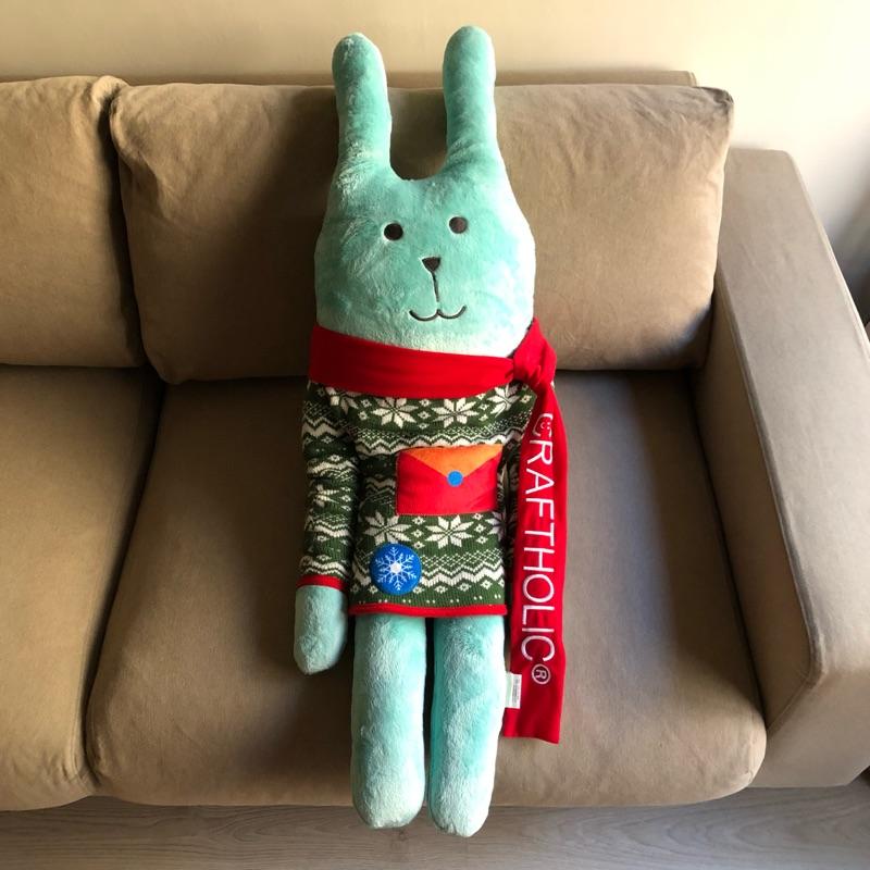 【收藏】宇宙人 CRAFTHOLIC 宇宙人繽紛SHOW 聖誕圍巾兔 聖誕節 大抱枕 抱抱枕 玩偶 布偶 全家 限定版