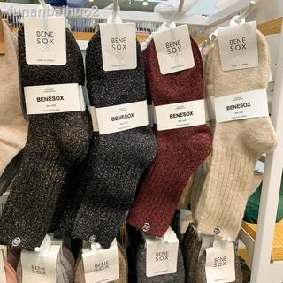 ☼❉卐BENE SOX韓國代購東大門閃閃銀絲銀蔥羊毛保暖加厚秋冬堆堆女襪子