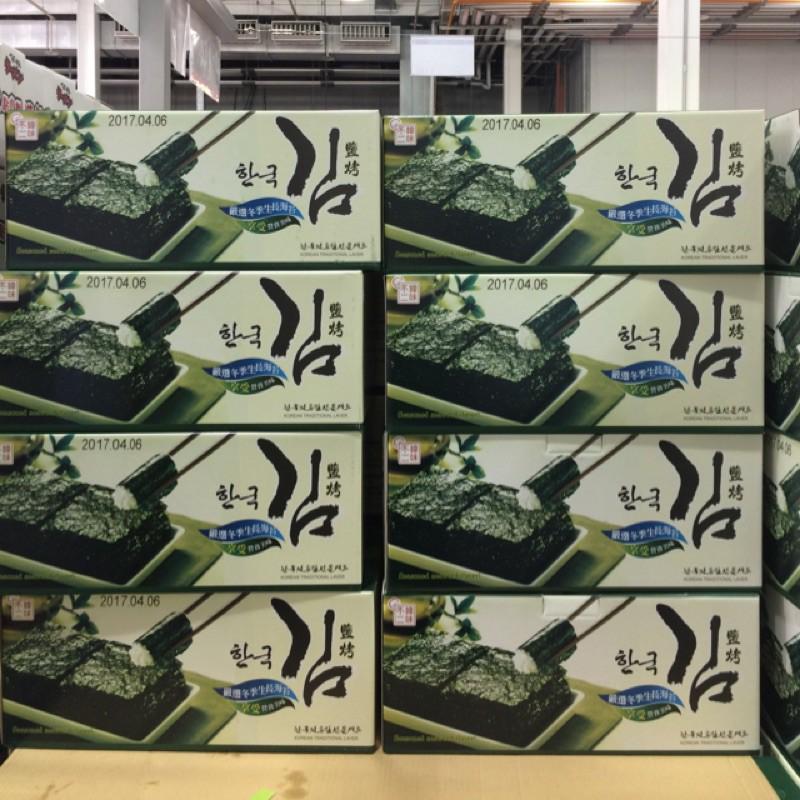 (現貨)韓味不二 鹽烤海苔禮盒 (每箱180g) 韓國海苔 鹽烤海苔 .