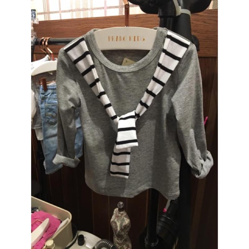 《現貨》2016秋季新款時尚假二件式的灰色上衣
