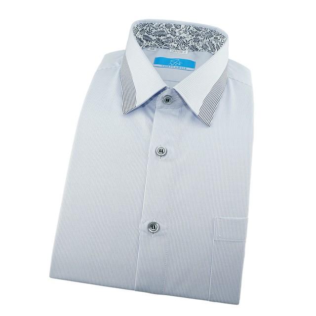 SHIRT'S HOUSE 極淺藍色細條紋領面拼接設計手工細緻領座配印花布年輕有型合身長袖襯衫87130-02-襯衫工房