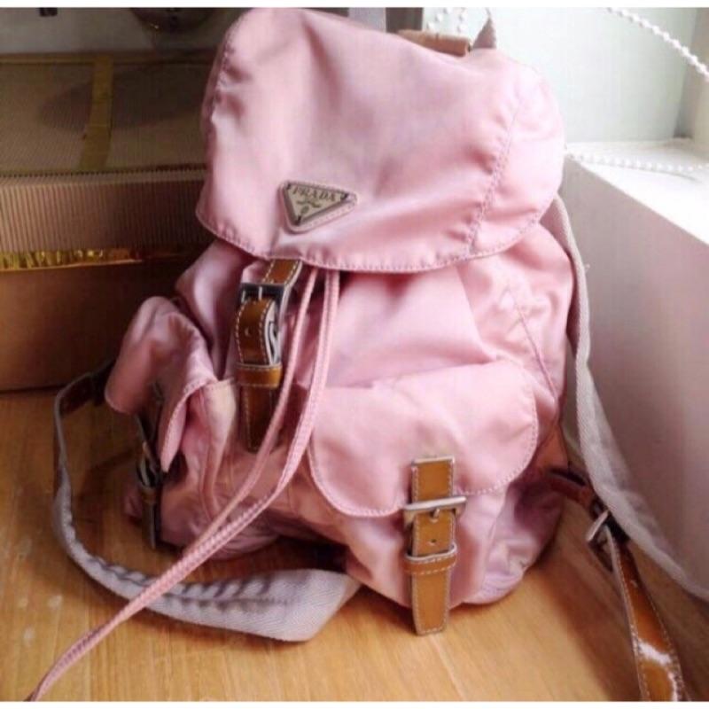 二手粉色prada後背包 真品