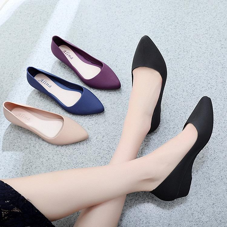 ALINA 尖頭鞋女士愛琳娜果凍鞋 Kasut 高跟鞋防水淺磨砂