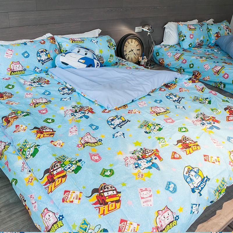 戀家小舖【波力救援小英雄-藍】薄被套 韓國可愛卡通 磨毛多工法處理 台灣製