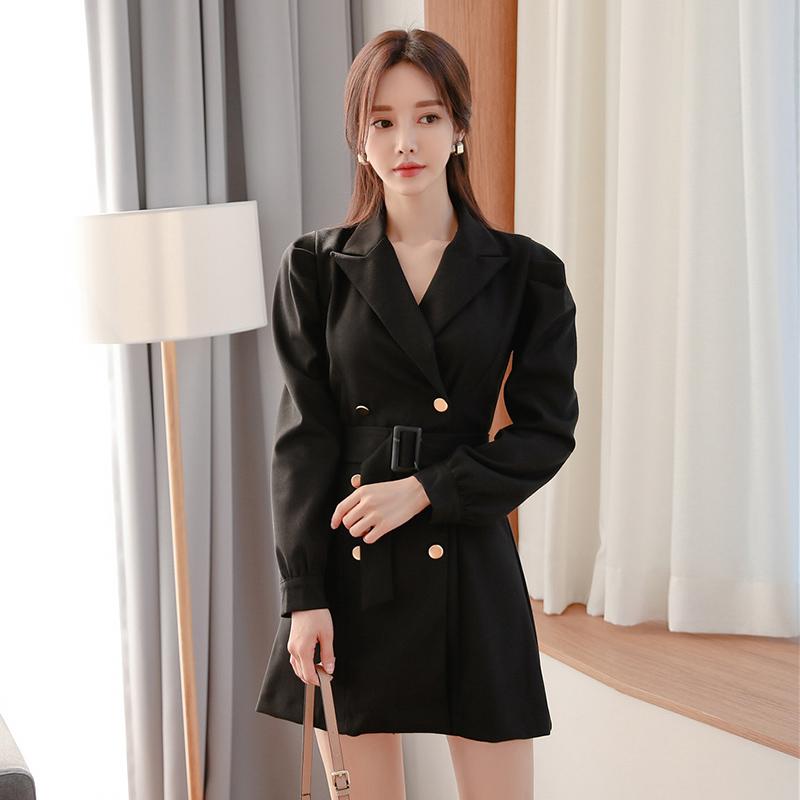 西裝外套式正韓洋裝秋天雙排扣綁帶短板洋裝a字連衣裙