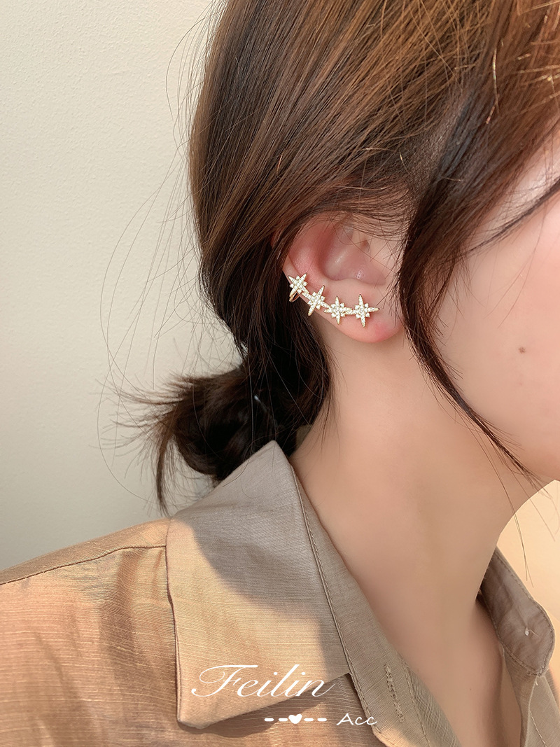 【新品特惠】現貨八芒星耳釘 韓國東大門耳扣耳釘耳環 新款優雅S925銀針滿鑽耳飾 休閒百搭耳環 氣質耳環