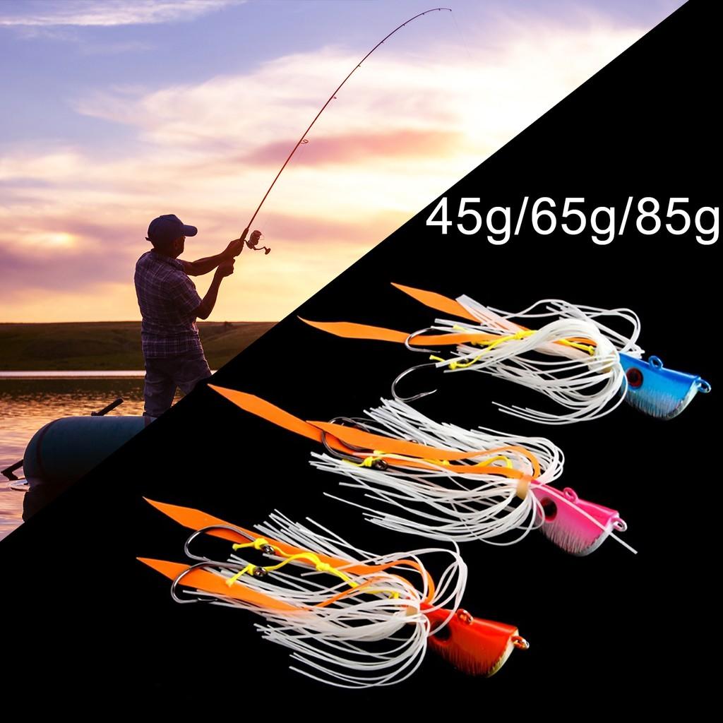 ⛳戶外漁具⛳45g/65g/85g章魚鱿魚鉛頭鈎海釣魚餌炎月鐵闆路亞假餌胡須佬