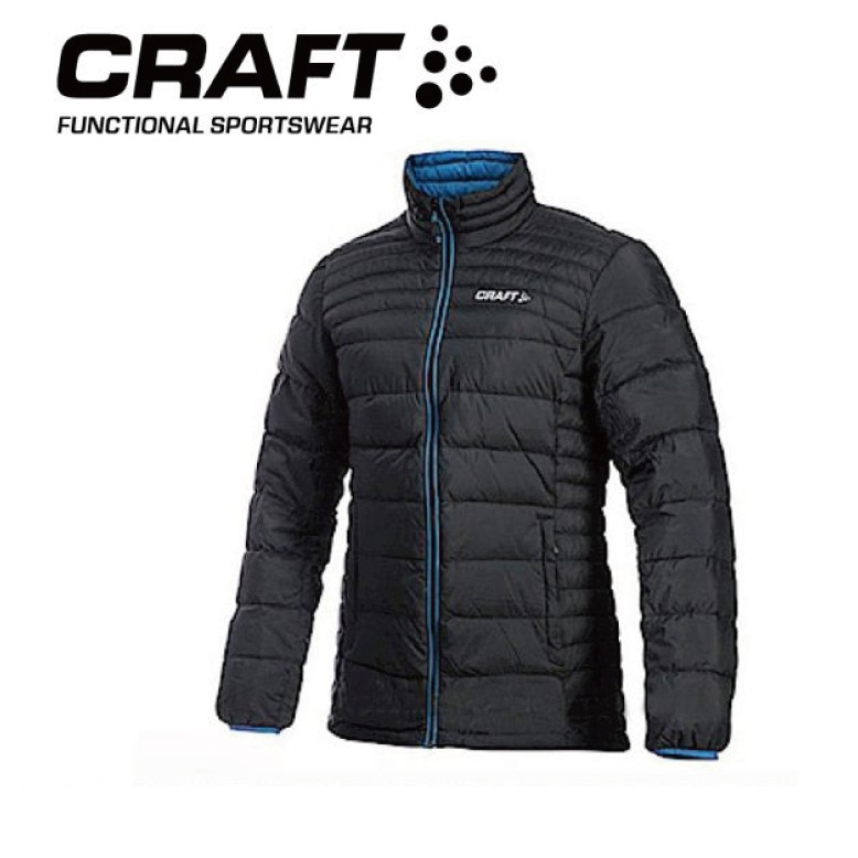 【CRAFT 瑞典 男 輕量羽絨外套《黑/藍》】1902294/防水/防風/保暖外套/登山外套