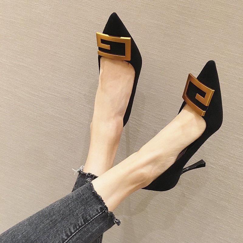 現貨 2021年夏天新款網紅法式小黑色工作鞋尖頭高跟鞋女細跟中跟單鞋女