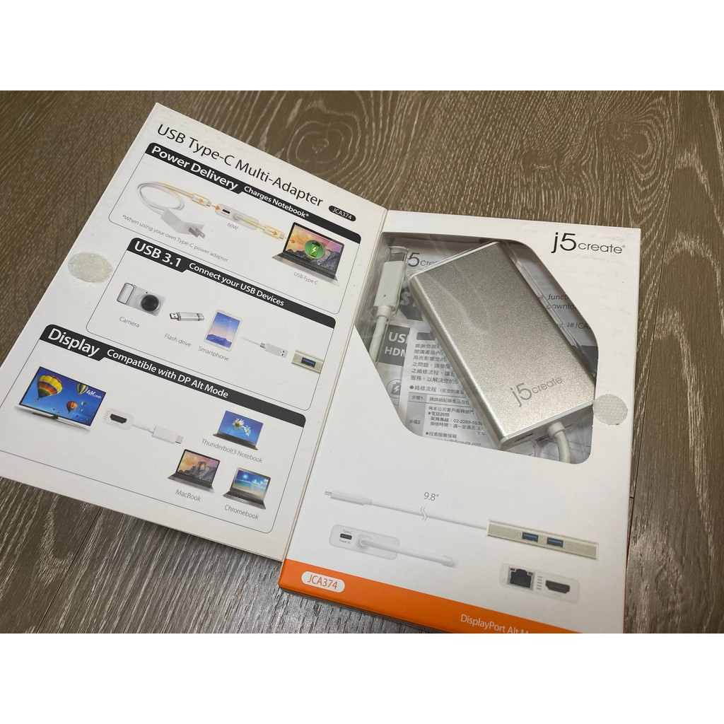 j5create JCA374 USB3.1 Type-C 5合1多功能4K顯示轉接器-JCA374 支援PD