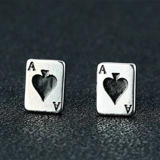 WS 飾品【EES-250】精緻個性小巧可愛撲克牌黑桃A鈦鋼針式耳環 新北市