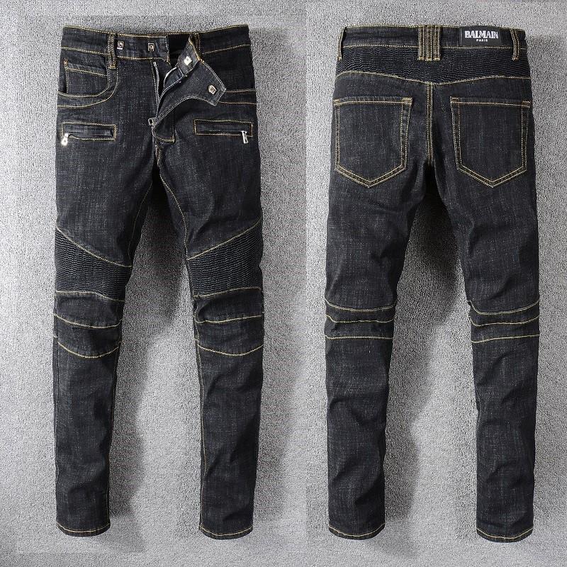 BALMAIN JEANS 牛仔長褲 巴爾曼 男士牛仔褲 直筒修身小腳牛仔褲 破洞拼接拉鏈 牛仔褲 丹寧牛仔長褲
