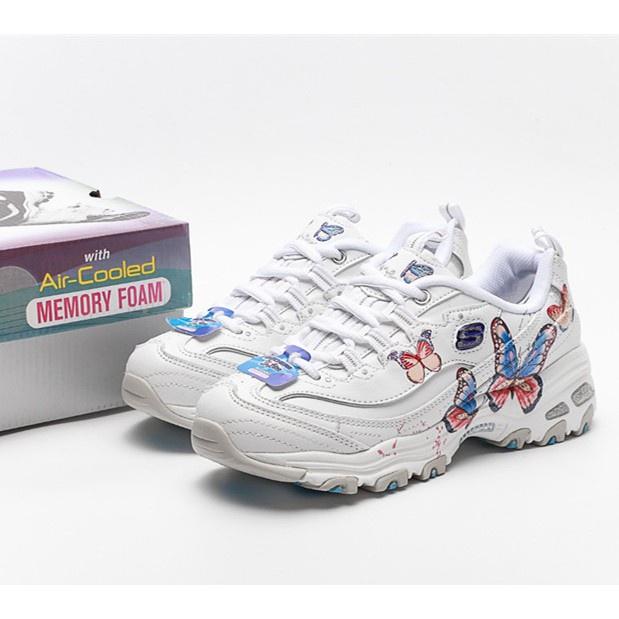 現貨 新款 Skechers D'lites 蝴蝶刺繡熊貓鞋 斯凱奇女鞋 運動鞋 厚底越野鞋 登山鞋 老爹鞋 4Iav
