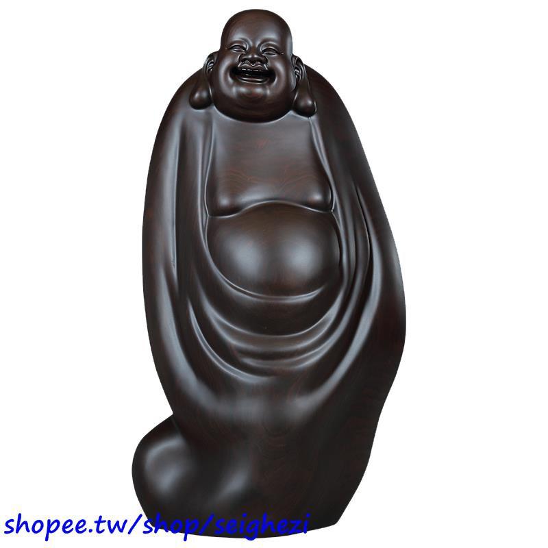 #精選【熱銷】黃泉福黑檀木雕刻工藝品招財彌勒佛木雕佛像擺件辦公室裝飾品擺設