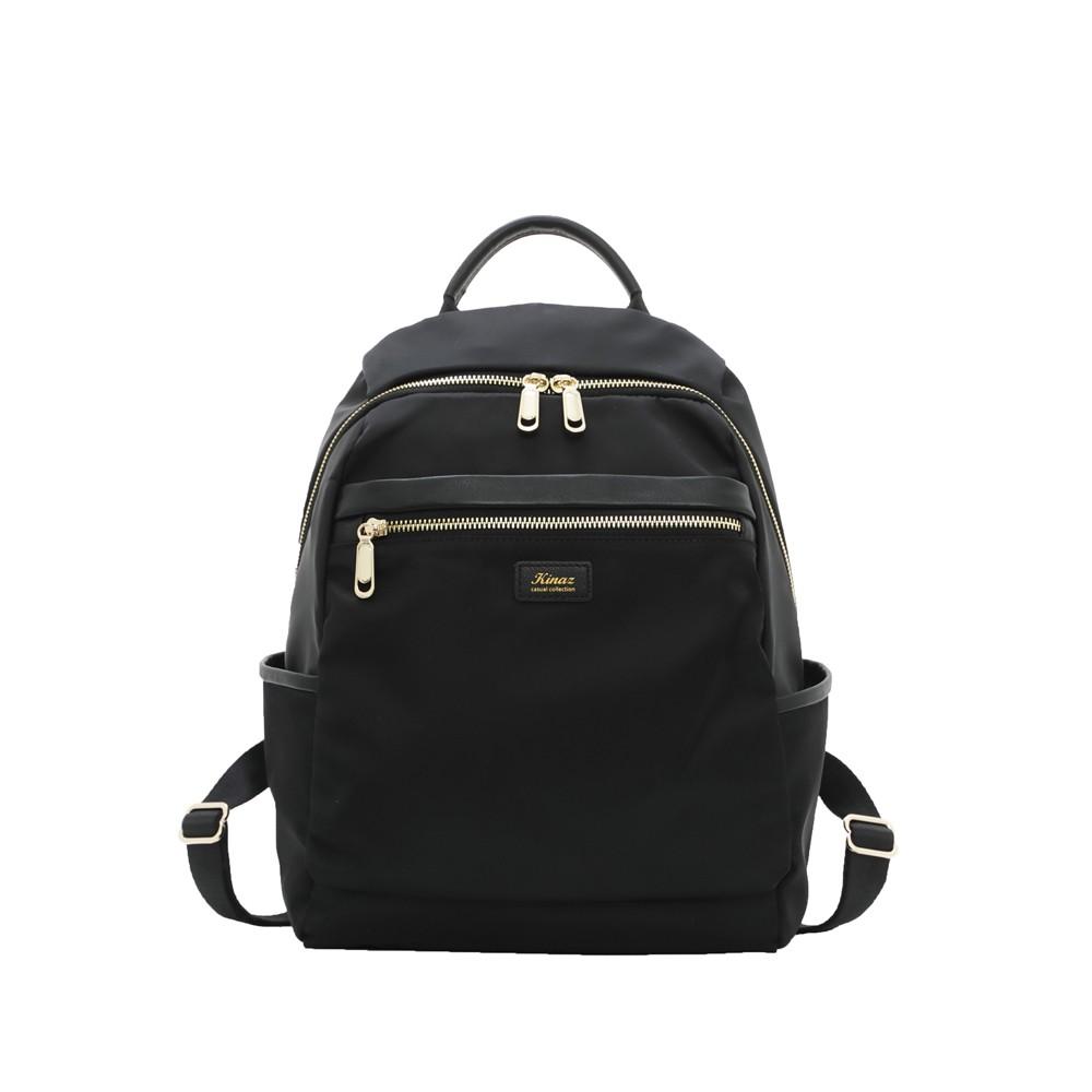 KINAZ casual 多隔層防潑水真皮拼接手提後背包-極致深黑-輕甜漫遊系列
