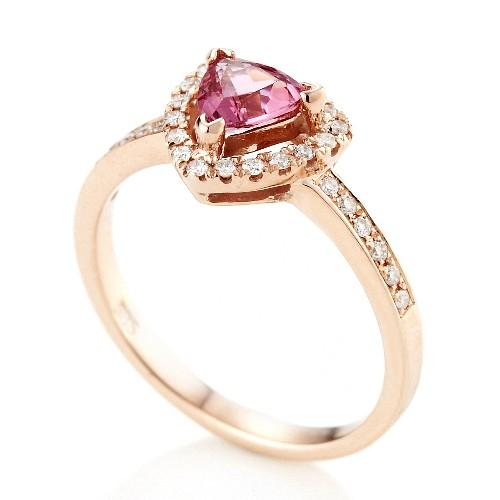 Dolly 無燒 霓虹尖晶石0.50克拉 14K玫瑰金鑽石戒指(002)