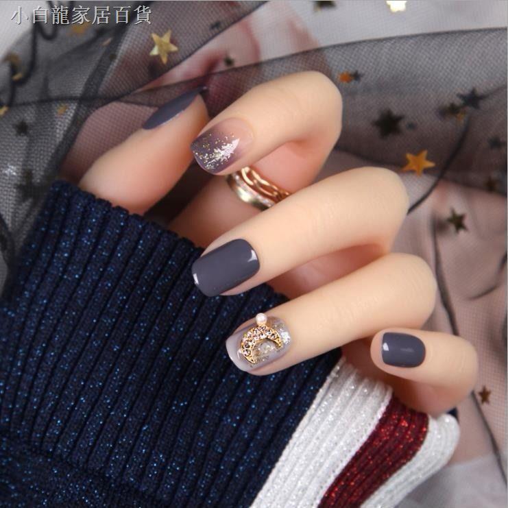 日式美甲成品 穿戴式美甲片 指甲貼美甲 可反復使用 穿戴式甲片假指甲長短款可拆卸網紅抖音成品新娘學生孕婦美甲貼片
